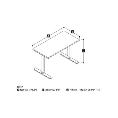 Bestar 24 x 48 Electric Table Dimension
