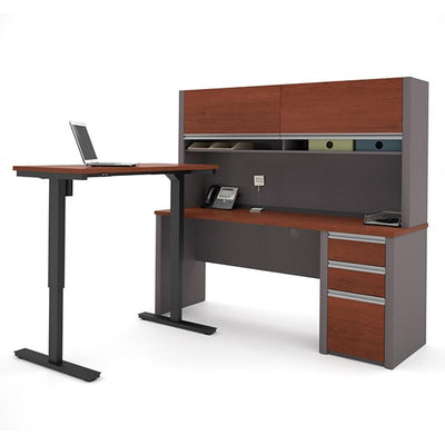 Bestar Connexion L-Desk Bordeaux & Slate  With Hutch