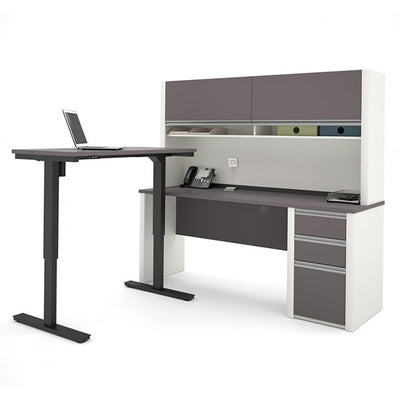 Bestar Connexion L-Desk Slate & Sandstone With Hutch