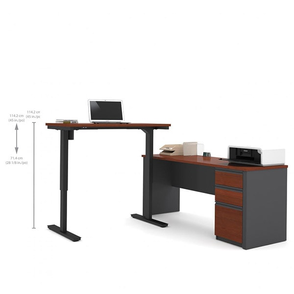 best cheap 3e316 9fed6 Bestar Prestige + L-Desk with Electric Height Adjustable Table
