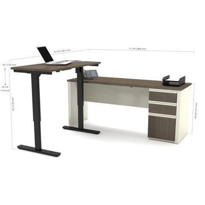 Bestar Prestige + L-Desk White Chocolate & Antigua Full Dimension