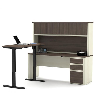 Bestar Prestige + L-Desk White Chocolate & Antigua With Hutch