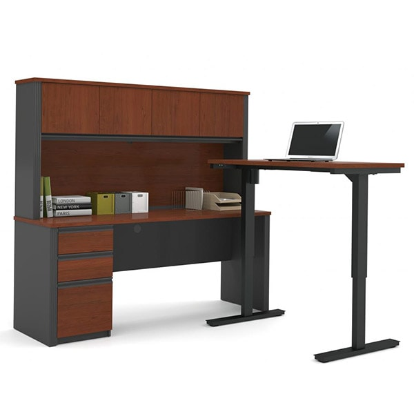 Bestar Prestige + L-Desk With Hutch Bordeaux & Graphite