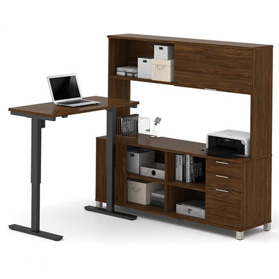 Bestar Pro-Linea L-Desk Oak Barrel With Hutch