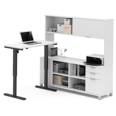 Bestar Pro-Linea L-Desk White With Hutch