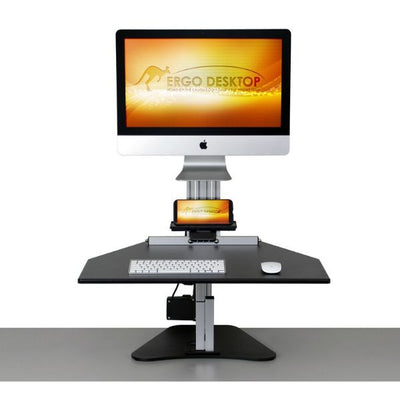 Ergo Desktop Electric MyMac Kangaroo Pro Front View Single Monitor Elevated