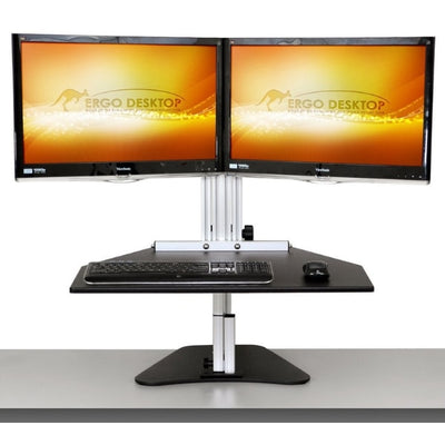 Ergo Desktop Wallaby Elite Standing Desk Converter Front View Dual Monitor High