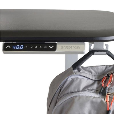Ergotron WorkFit Electric 46 Inch Surface Hook Close Up View