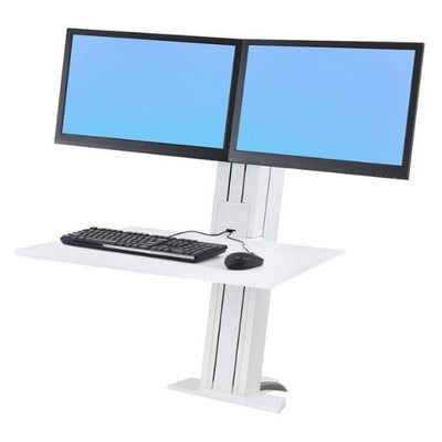 Ergotron WorkFit SR Dual Monitor Sit Stand Workstation 3D View White Dual Monitor