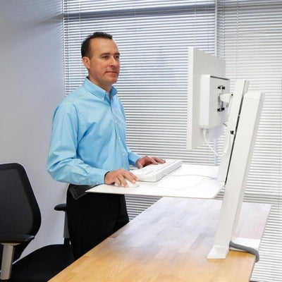 Ergotron WorkFit SR Dual Monitor Sit Stand Workstation Side View Standing