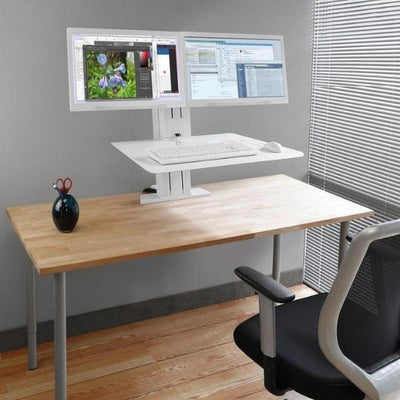 Ergotron WorkFit SR Dual Monitor Sit Stand Workstation Top Front View