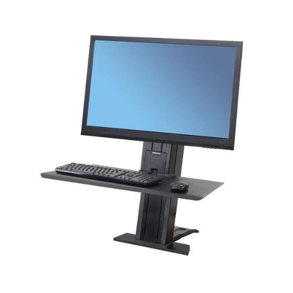 Ergotron WorkFit SR Single Monitor Sit Stand Workstation 3D View Heavy Black