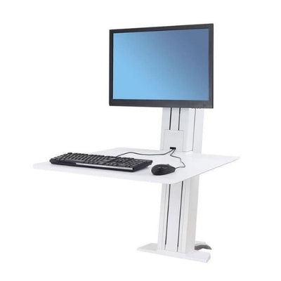 Ergotron WorkFit SR Single Monitor Sit Stand Workstation 3D View White Facing Left