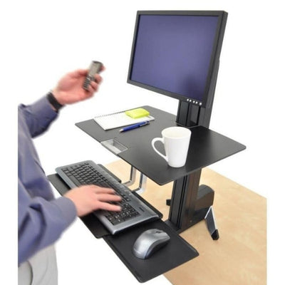 Ergotron WorkFit S Sit Stand Workstation 3D View With Worksurface Facing Left