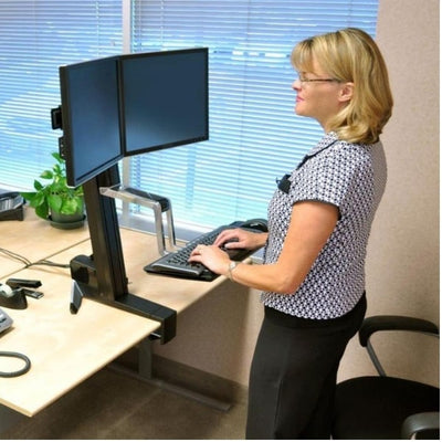 Ergotron WorkFit S Sit Stand Workstation Dual Monitor Standing