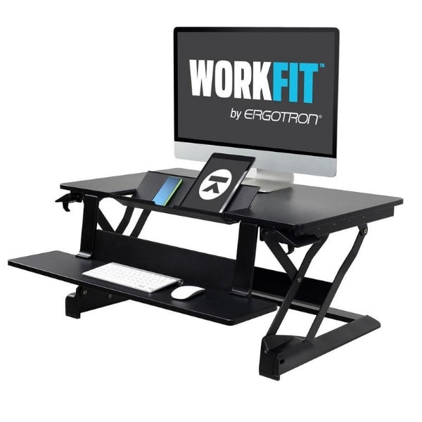 Ergotron WorkFit TLE Sit Stand Desktop Workstation With Gadgets