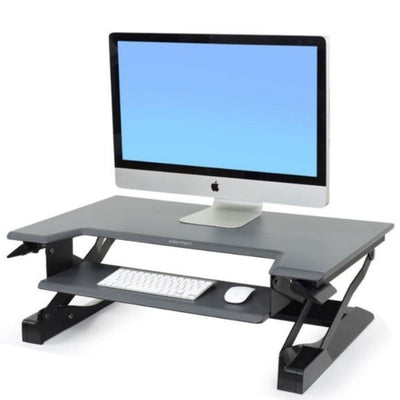 Ergotron WorkFit T Sit Stand Desktop Workstation 3D View Single Monitor Black