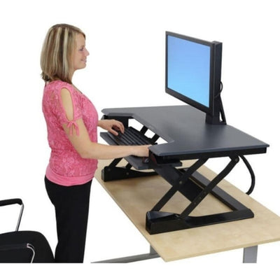 Ergotron WorkFit T Sit Stand Desktop Workstation 3D View Standing