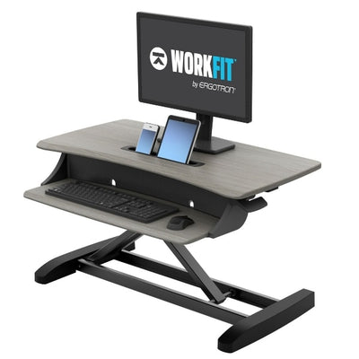 Ergotron WorkFit Z Mini Sit Stand Desktop 3D View Facing Left