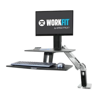 Ergotron Workfit A with Suspended Keyboard 3D View Single Monitor