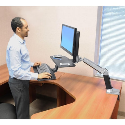 Ergotron Workfit A with Suspended Keyboard Side View Standing