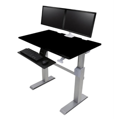 Ergotron Workfit DL 48 Sit Stand Desk 3D View Black Suspended keyboard