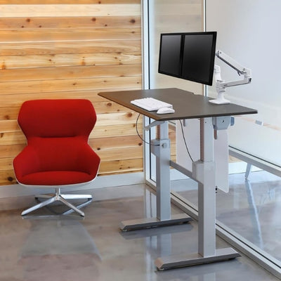 Ergotron Workfit DL 48 Sit Stand Desk 3D View Wenge