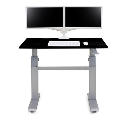 Ergotron Workfit DL 48 Sit Stand Desk Front View Black