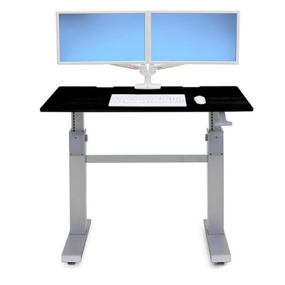 Ergotron Workfit DL 48 Sit Stand Desk Front View Black Dual Monitor