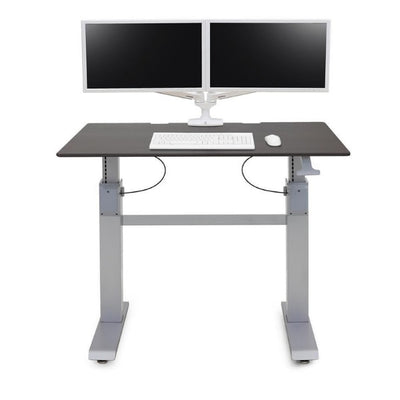 Ergotron Workfit DL 48 Sit Stand Desk Front View Wenge