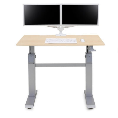 Ergotron Workfit DL 48 Sit Stand Desk Front View Maple