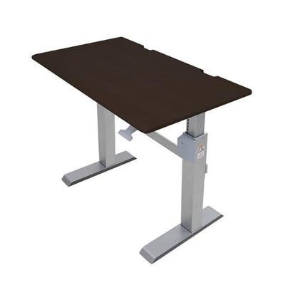 Ergotron Workfit DL 48 Sit Stand Desk Top Front Side View Wenge