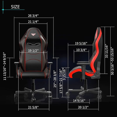 Eureka Black-Red Gaming Chair Dimension