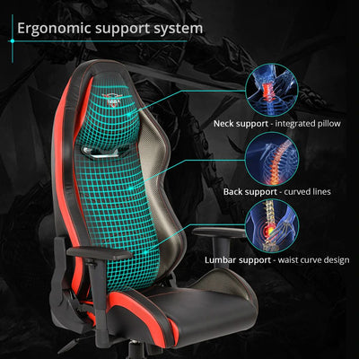 Eureka Black-Red Gaming Chair Ergonomic