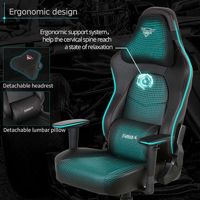 Eureka Black  Leather Gaming Chair Ergonomic