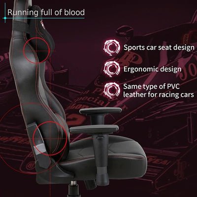 Eureka Black  Leather Gaming Chair Seat Design