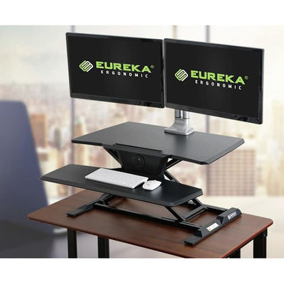 Eureka Electric Standing Desk Converter 3D View Dual Monitor