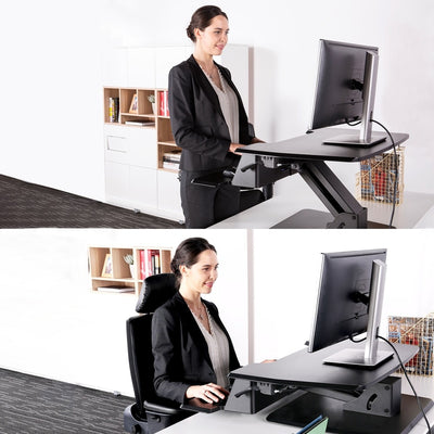Eureka Ergonomic 31.5 Single Arm Black Sitting And Standing