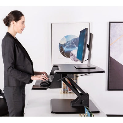 Eureka Ergonomic 31.5 inch Single Arm Sit-Stand Desk Side View Standing