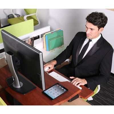 Eureka Ergonomic 31.5 inch Single Arm Sit-Stand Desk Top View Sitting