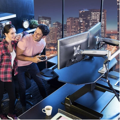 Eureka Ergonomic 46 inch Gaming Standing Desk Converter Back Side View Standing