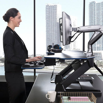 Eureka Ergonomic Standing Desk Converter 46 XL Side View Standing