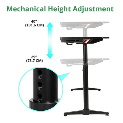 Eureka IM60 Gaming Table Height Adjustment