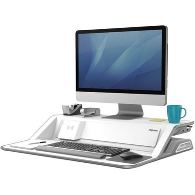 Fellowes Lotus DX Sit Stand Workstation 3D VIew Single Monitor Compressed White