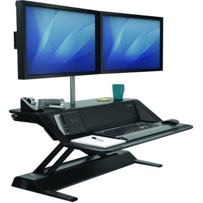 Fellowes Lotus DX Sit Stand Workstation 3D View Dual Monitor Raised Black