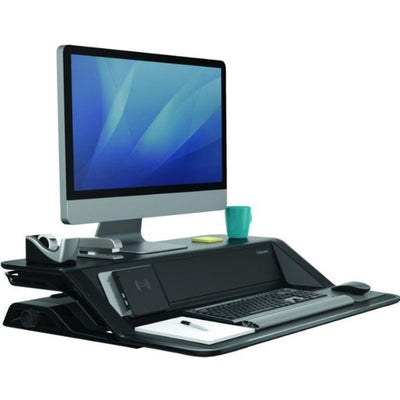 Fellowes Lotus DX Sit Stand Workstation 3D View Single Monitor Compressed Black