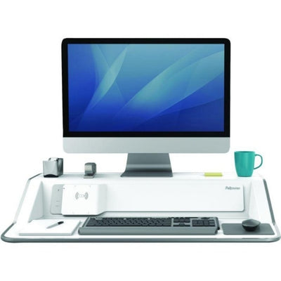 Fellowes Lotus DX Sit Stand Workstation Front View Single Monitor Compressed White