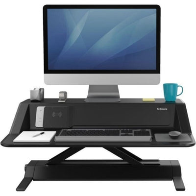 Fellowes Lotus DX Sit Stand Workstation Front View Single Monitor Raised Black