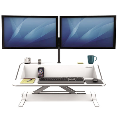 Fellowes Lotus White Front View Dual Monitor