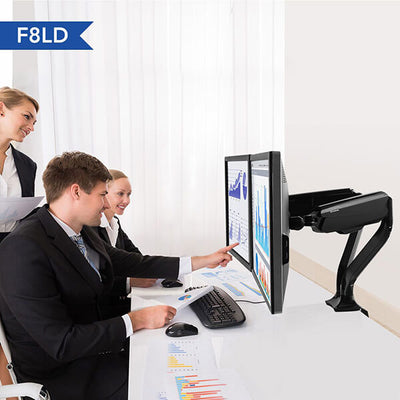 Fleximount F8LD Dual (Heavy) Monitor Arm Front Side View